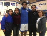 Winston with friends and family after semifinal win, left to right: Niece Sara Vasquez, Mom Lupe Capozzi, Winston, Coach Joe Vasquez, and Aunt Esther Vasquez.